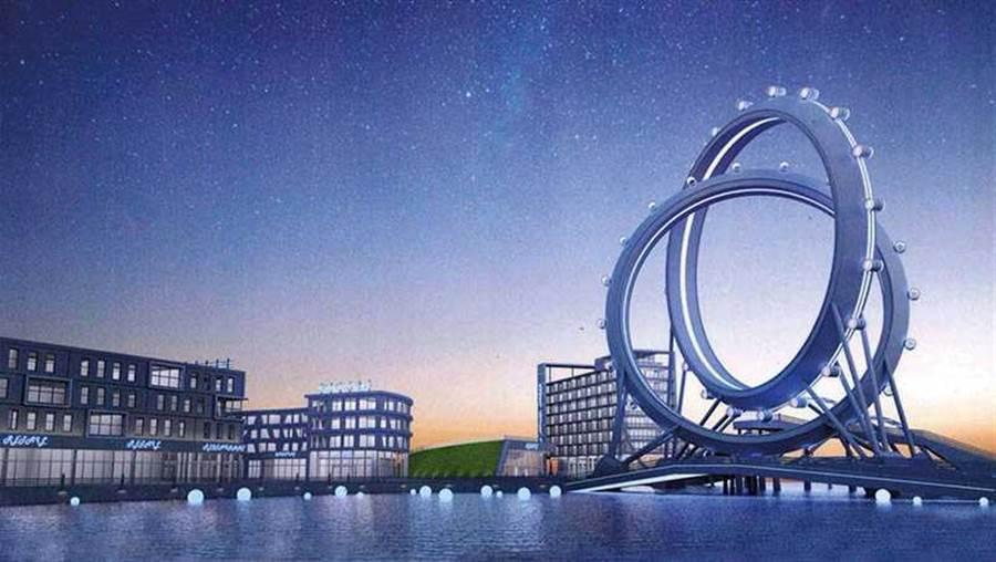 高雄市長韓國瑜承諾在愛河出海口興建的「愛情摩天輪」,讓周邊及愛河第一排的建案具有收藏價值。(圖/高雄市經發局提供)