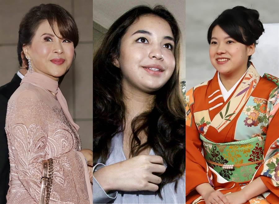 不只梅根與哈利,多位亞洲皇族也因不同理由放棄頭銜。圖左依序為泰國烏汶叻公主、印尼混血名模馬諾哈拉、日本絢子女王。(圖/美聯社、TPG、達志影像)