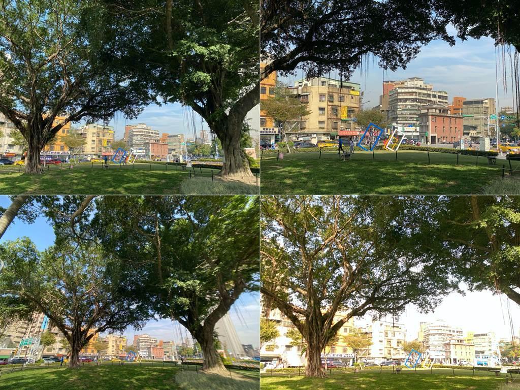 iPhone 11 Pro廣角(左上)、長焦鏡頭(右上)實拍,對比外接bitplay HD高階廣角鏡頭(左下與右下)的視野對比。(黃慧雯攝影)
