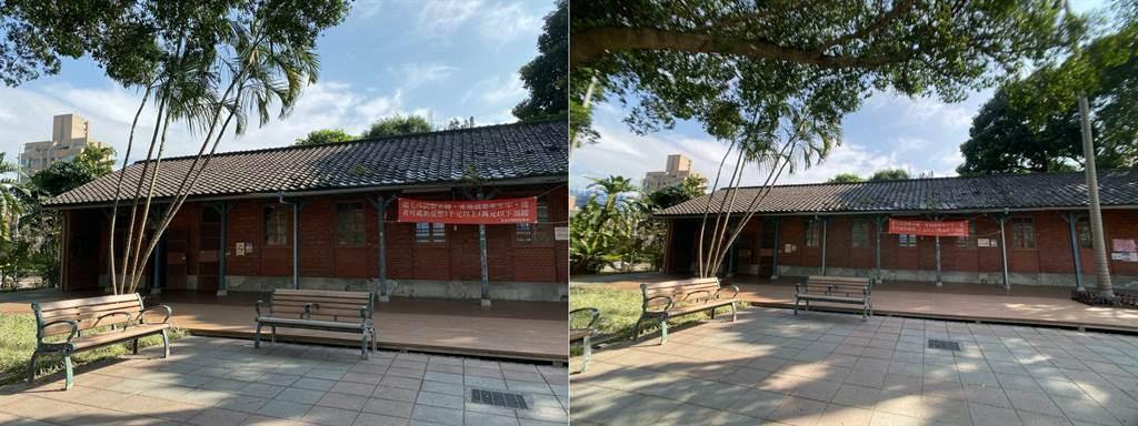 iPhone 11 廣角鏡頭(左)與廣角鏡頭外接bitplay HD高階廣角鏡頭(右)後的視野對比。(黃慧雯攝影)