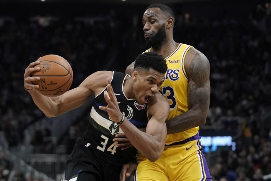NBA全明星赛将由东区阿提托康波(左)对抗西区詹姆斯。(美联社资料照)