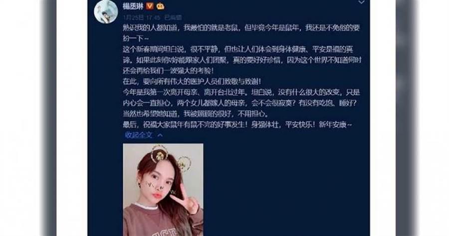 楊丞琳擔心母親過年會感到寂寞,也讓母親不要擔心自己。(圖/微博)