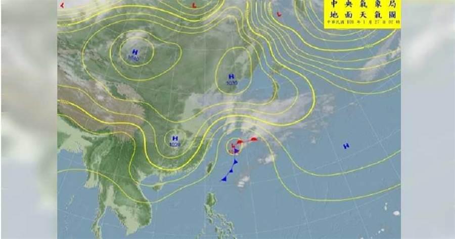 受到大陸冷氣團南下影響,氣象局預估今明兩天各地天氣轉冷,初5可能出現9度低溫。(圖/翻攝中央氣象局網站)