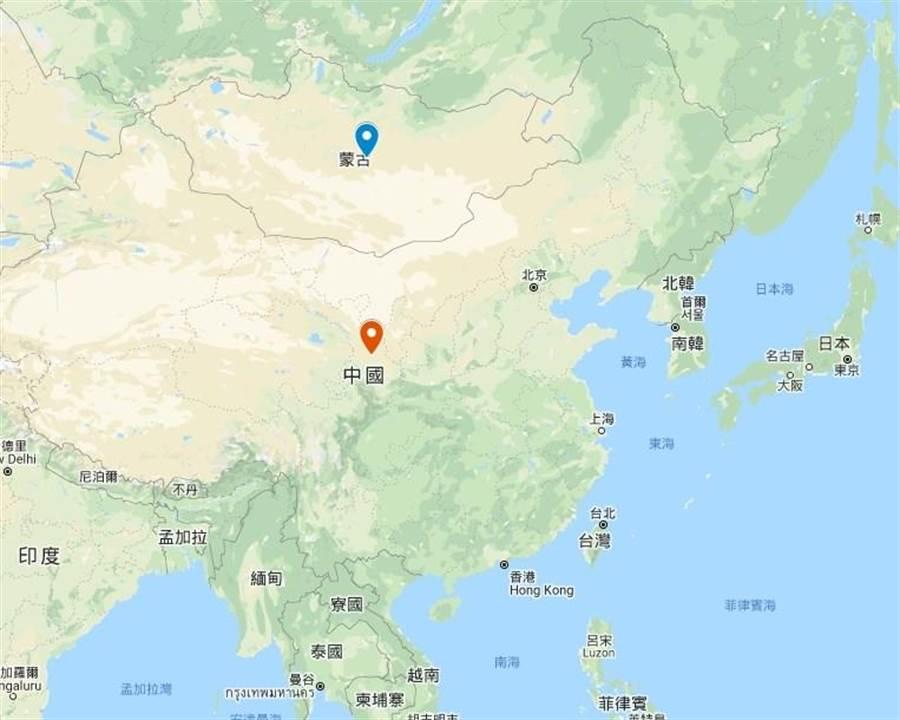 蒙古關閉與中國大陸邊界。(圖/擷取自google.com/maps)