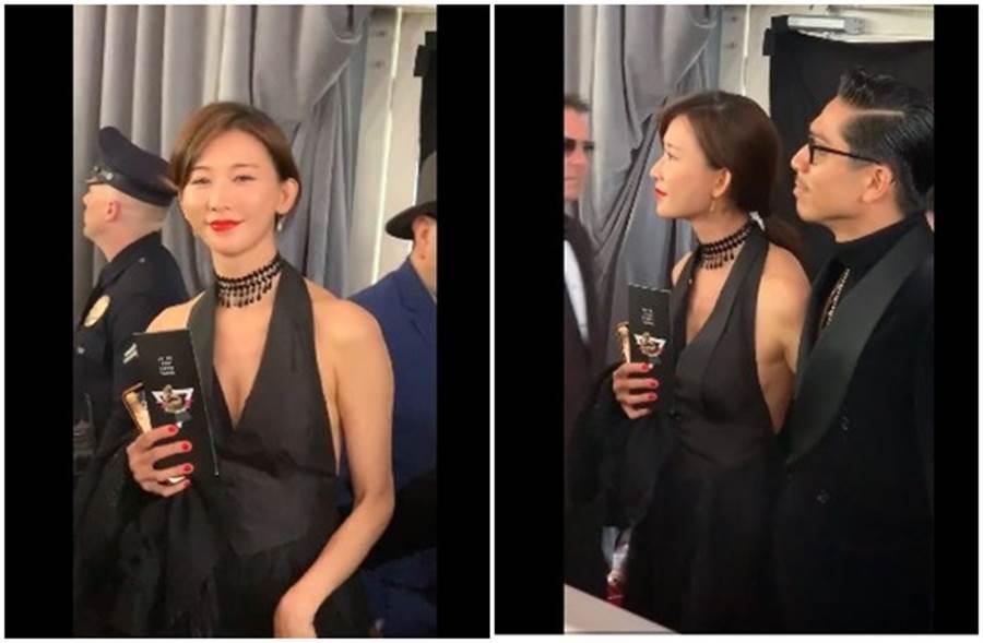 林志玲甜伴老公Akira現身葛萊美獎。(取自微博)