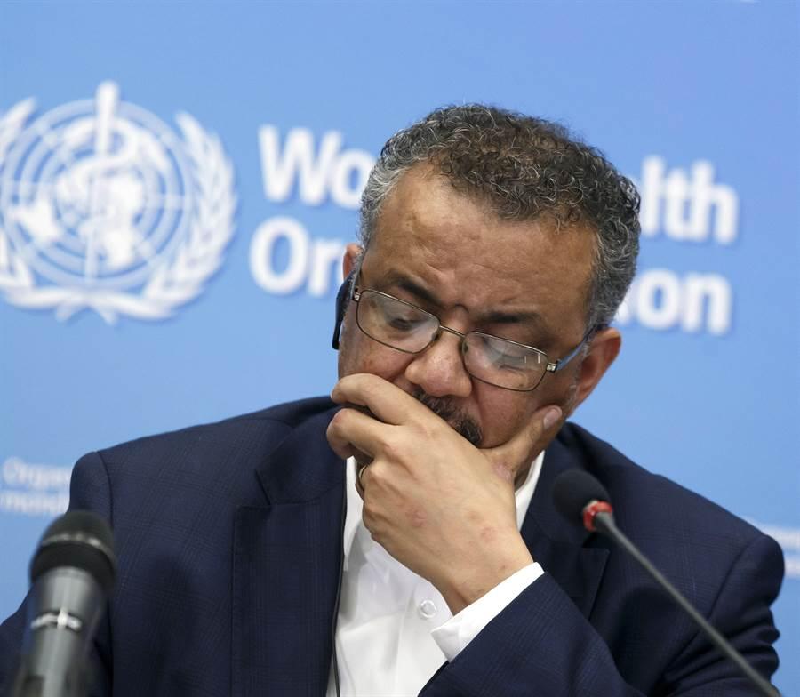 世界衛生組織表示,承認先前將造成武漢肺炎的新型冠狀病毒風險為中等的「用詞錯誤」,並修改對全球風險為「高」。圖為世衛秘書長譚德塞。(美聯社)