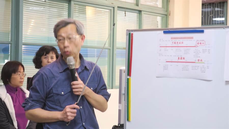 彰化縣衛生局長葉彥伯說明全國第5例與第8例的個案感染情況與返國期間移動路徑。(謝瓊雲攝)