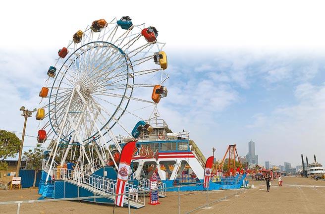 高雄港7號碼頭活化轉型,引進歐美主題JETS嘉年華,初一至初五免費開放入園。(柯宗緯攝)