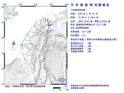 宜蘭14:09規模4.2地震 最大震度2級