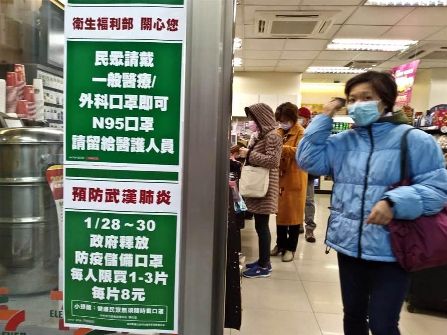 政府從28日至30日釋出防疫儲備口罩600萬片,連續3天,採一人限購3片的方式應急。(資料照片,劉宗龍攝)