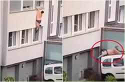 情人老公突返家 半裸胖小王掛2樓牆外 下一秒…撐不住先撞車再彈地