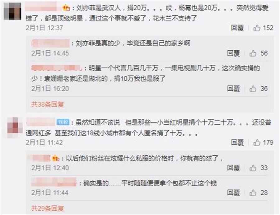 網友認為楊冪和劉亦菲捐太少。(圖/翻攝自微博)