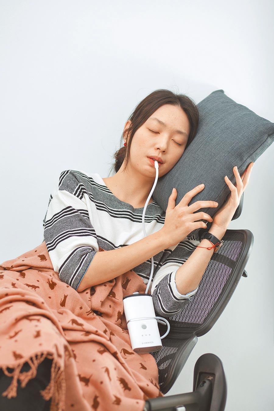 萊鎂醫獨步全球開發的「負壓式睡眠呼吸中止治療裝置」。(工研院/王玉樹台北傳真)