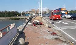 聯結車撞8汽機車1死3傷 飛越護欄驚悚畫面曝光