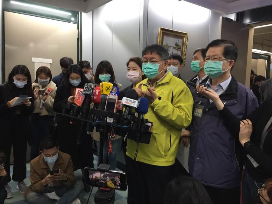 台北市長柯文哲3日說明爆料台商隔離地點。(張立勳攝)