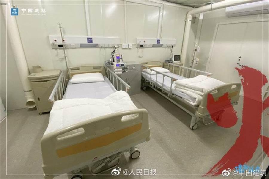 大陸武漢火神山醫院內部實拍。(圖/翻攝自 人民日報)