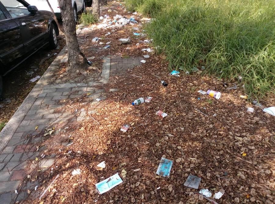 人行道及草叢等盡是亂丟的口罩,造成汙染,也可能成為防疫漏洞。(許素惠攝)