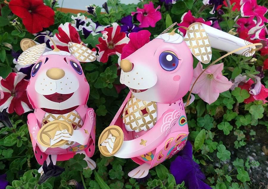 嘉義市政府將送粉紅色的「鼠來寶」元宵小提燈。(廖素慧攝)