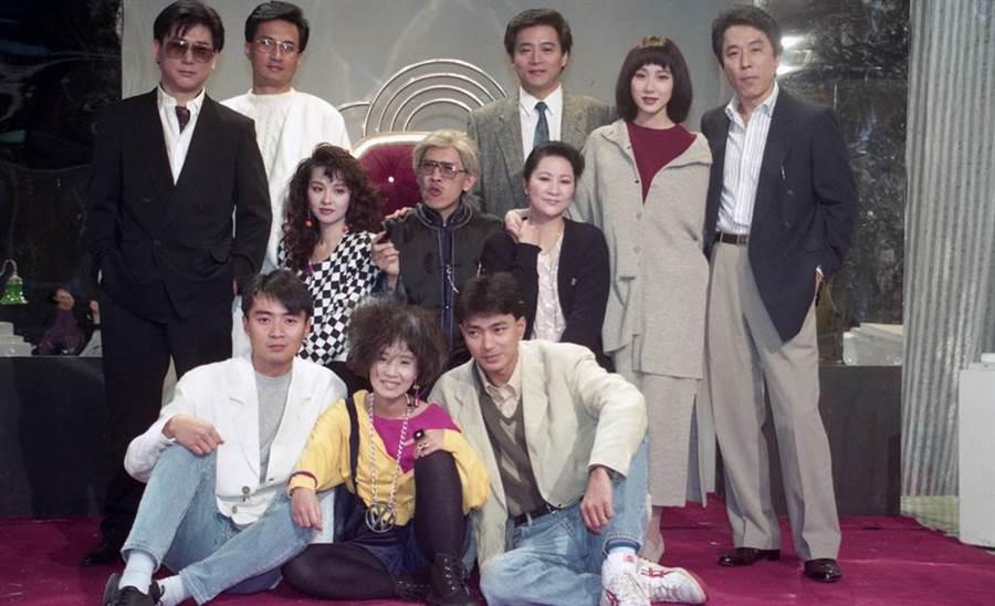 1991年《兩個月亮》張正藍、李明依、蕭薔、艾偉、小戽斗、關勇、林立洋、康凱、周紹棟。(羅繼志攝)