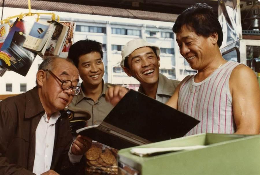 1985年電影《二手貨》。(左起)韓甦、楊慶煌、小戽斗。(中時報系檔案照片)