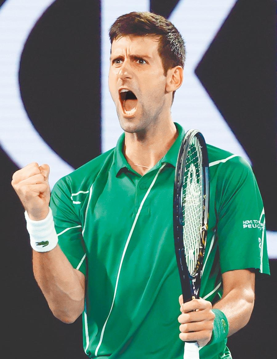 塞爾維亞名將喬柯維奇經過5盤鏖戰,以3比2力克奧地利的提姆,完成澳網男單2連霸。(路透)