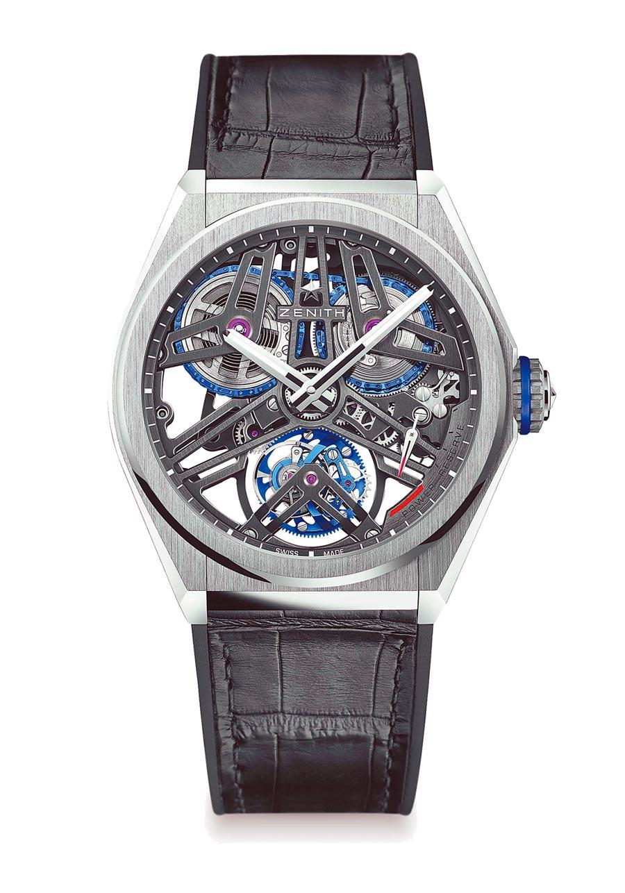 真力時DEFY EL Primero芝麻鍊陀飛輪腕表,鉑金款354萬5000元。(ZENITH提供)