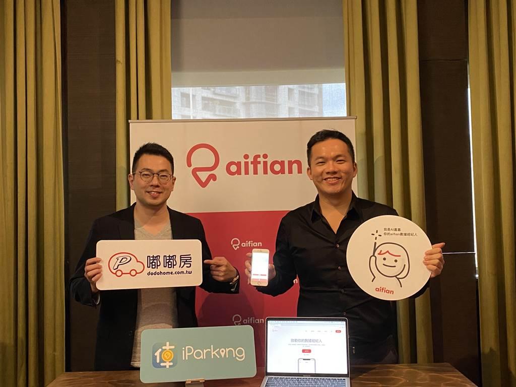 aifian執行長劉晉良(右)攜手與嘟嘟房總經理江馥年(左)宣布合作,利用Fintech 技術3秒算出車貸額度。(洪凱音攝影)