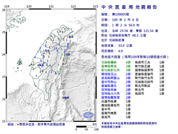 花蓮凌晨 01:02規模4.9地震 最大震度4級
