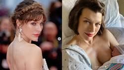 44歲蜜拉喬娃維琪產女!拉低領口哺乳噴母愛