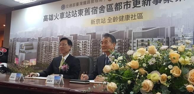 左為台鐵局長張政源、右為泰誠營造董事長陳慶祥。(圖/郭建志)