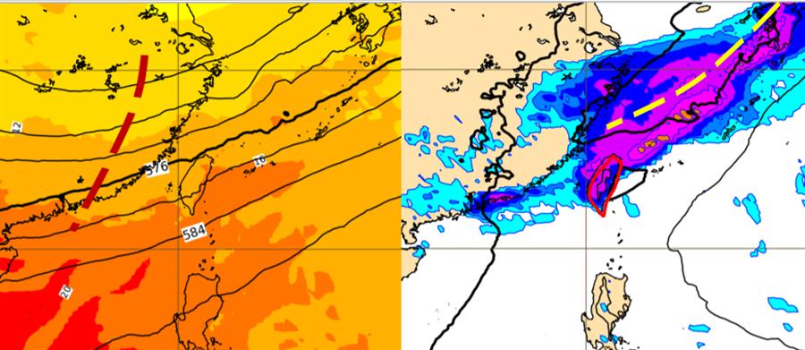 最新歐洲中期預報中心(ECMWF)模式、13日20時500百帕模擬圖(左圖)顯示,高空有短波槽(紅虛線),代表槽前地面鋒面(右圖黃虛線)附近上空,有強上升運動配合。同時的地面氣壓及降雨模擬圖(右圖)則顯示,鋒面伴隨明顯降雨,隱含其中有強對流發展。(翻攝自 「三立準氣象·老大洩天機」專欄)