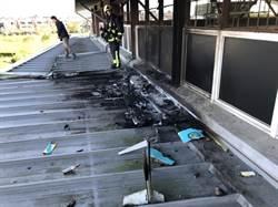 空拍機墜落校園爆炸  險火燒體育館