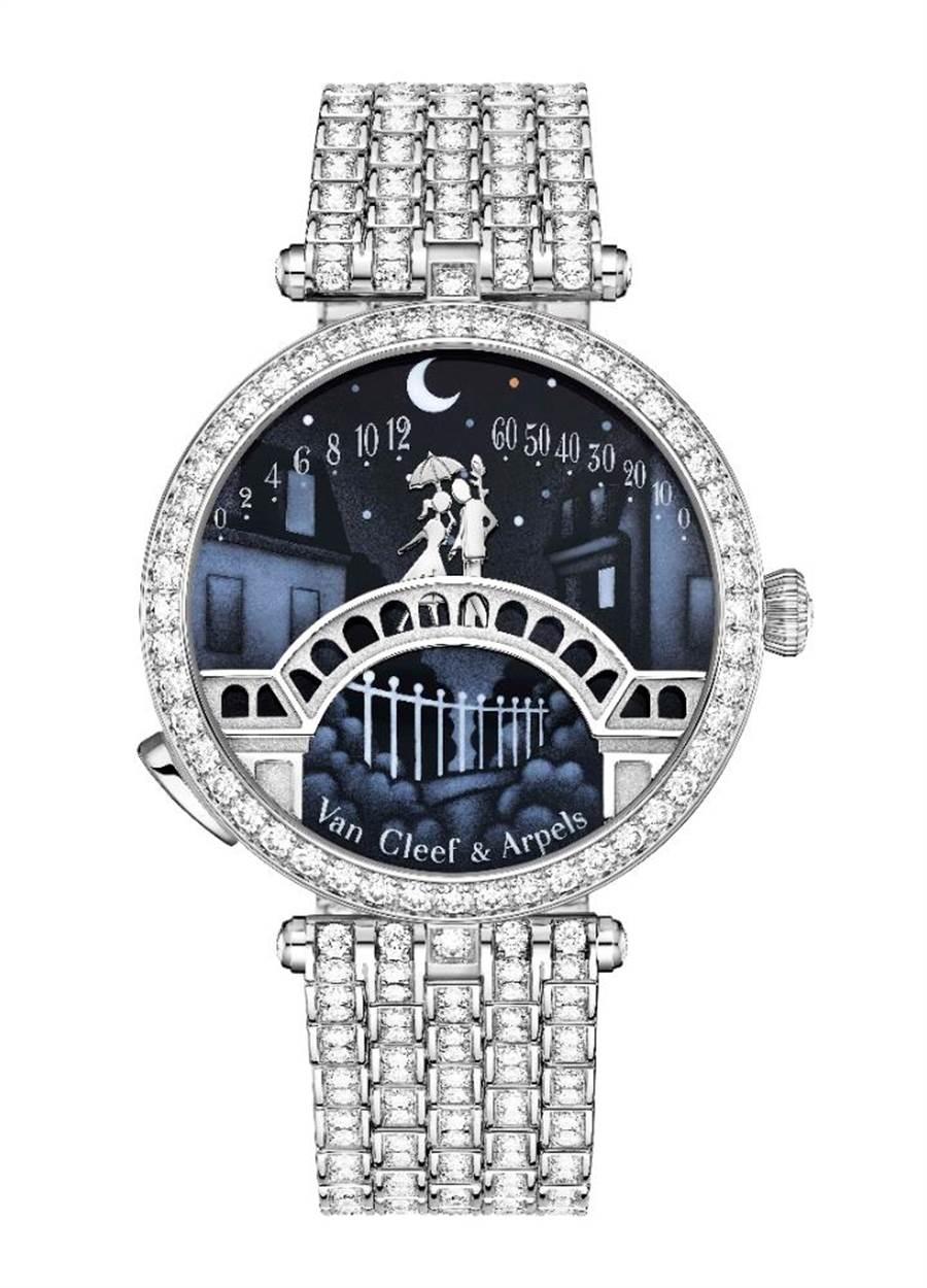 梵克雅寶的經典Lady Arpels Pont des Amoureux腕表,橋上情人會在12點相聚,十分浪漫,660萬元。(Van Cleef & Arpels提供)