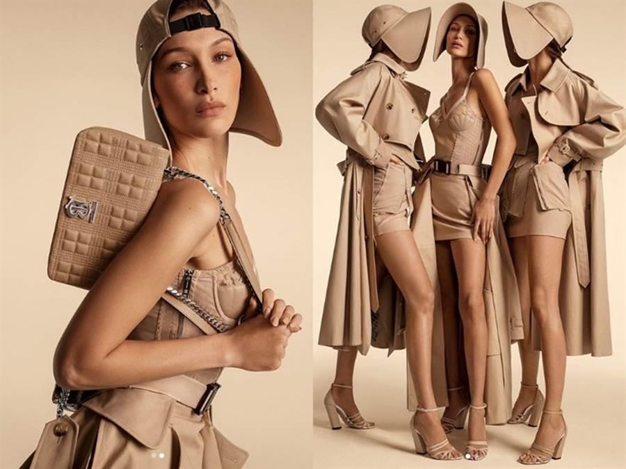 貝拉·哈蒂德和吉吉·哈蒂德、坎達兒·珍娜、佛列嘉·貝哈·艾瑞克森共同拍攝Burberry廣告。(圖/IG@ bellahadid)