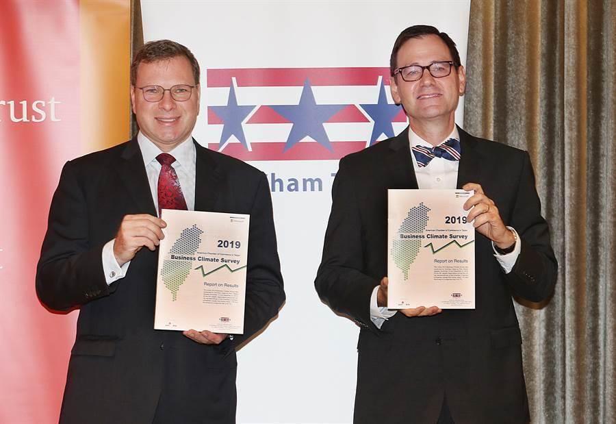 台北市美國商會會長李豪(LeoSeewald)(左)與執行長傅維廉(WilliamForeman)(右)曾在記者會中公布「2019商業景氣調查」報告。(圖/本報資料照,姚志平攝)
