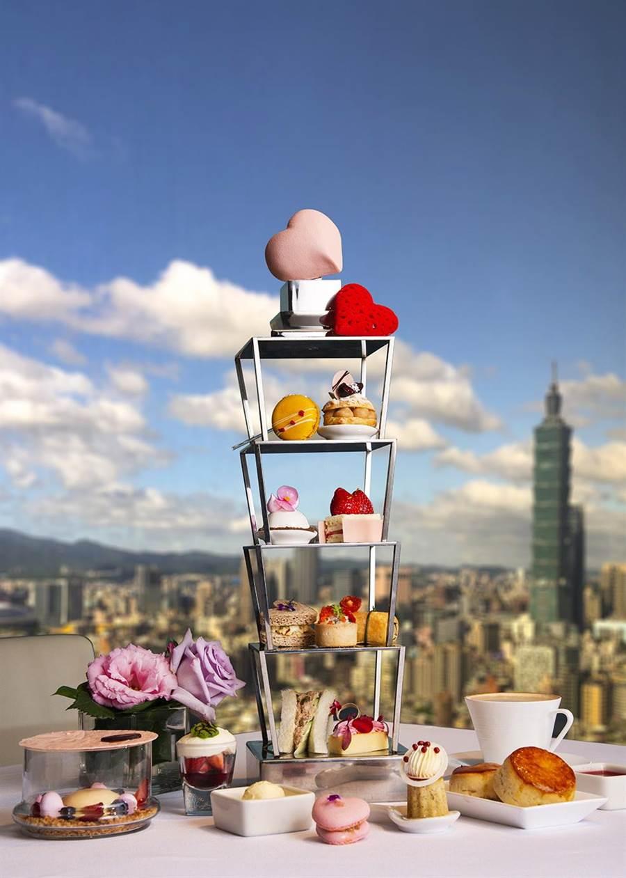 香格里拉台北遠東飯店除館內各餐廳推出情人餐,〈馬可波羅酒廊〉亦設計推出「甜心101」情人下午茶搶市,每位1080元+10%。(圖/台北遠東國際大飯店)