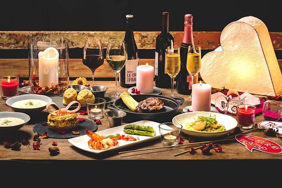 台北中山意舍酒店〈Buttermilk〉摩登美式餐廳搶戀愛商機,推出燭光浪漫的情人節雙人套餐。(圖/台北中山意舍酒店)
