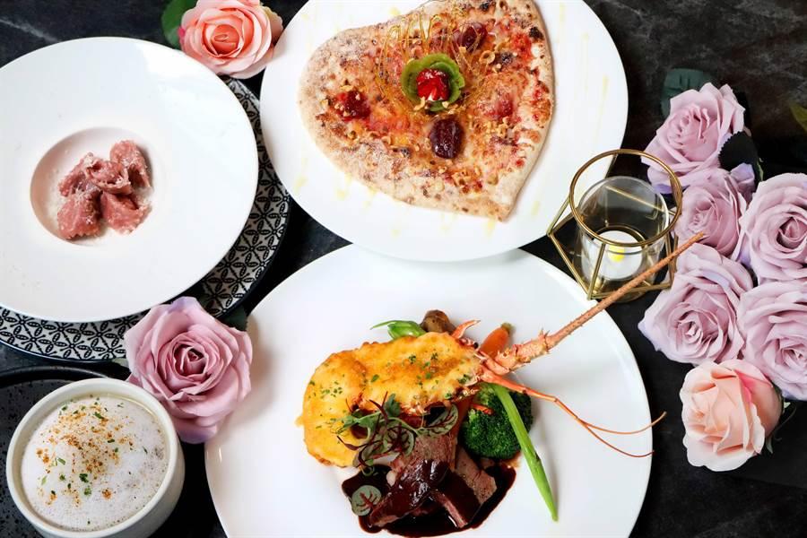 板橋凱撒大飯店〈卡拉拉〉餐廳推出的情人節雙饗宴,2人享用2280元+10%。(圖/板橋凱撒大飯店)