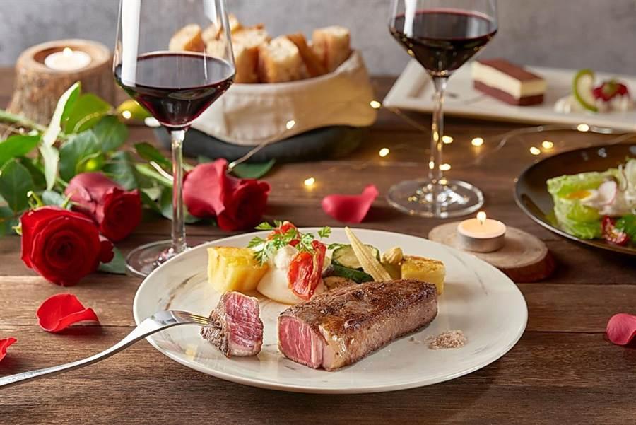 慕軒飯店館內〈GUSTOSO〉義大利餐廳,推出「2020愛你愛妳 情人晚宴」,6道菜每套1680元+10%。(圖/慕軒飯店)