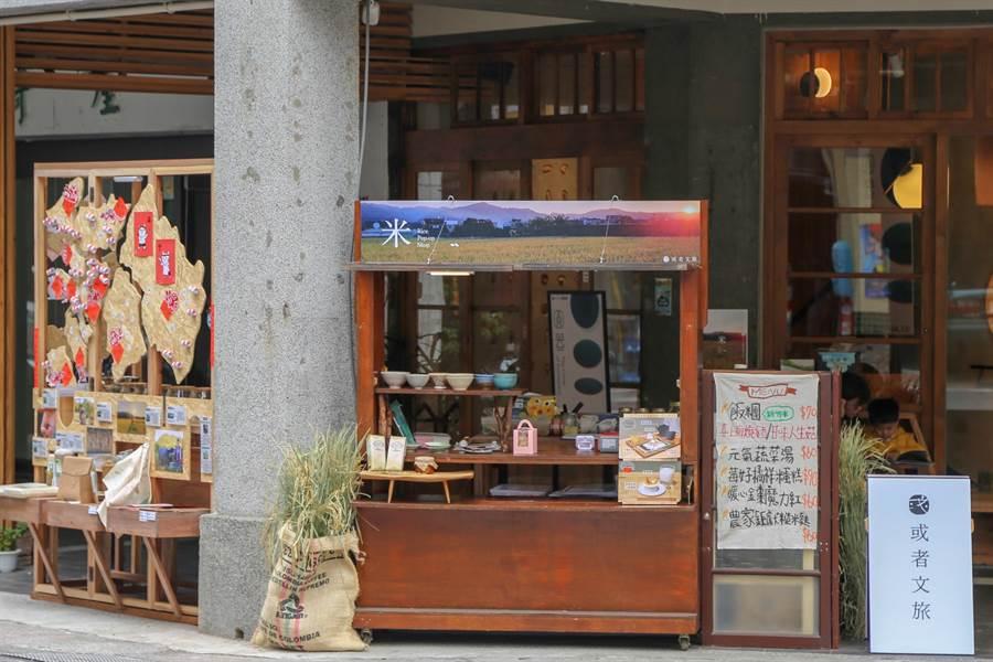 或者文旅限時快閃店2月7至9日以及14至16日,在或者工藝櫥窗騎樓展示,圖為1月主題「米」,展示新竹稻米的美好。(或者團隊提供/莊旻靜新竹傳真)