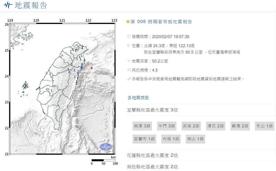 7日晚間7點57分,台灣東部外海發生規模4.5地震,北部、東北部有感 (圖/中央氣象局)