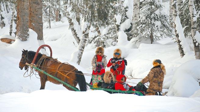 新疆禾木村是熱門的觀光景點,當地圖瓦族人運用「馬拉雪橇」拉乘旅客,讓遊客體驗雪地馳騁的快感。 (記者陳柏廷攝)