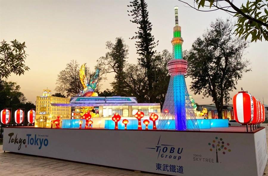 近鐵與東武集團等2個日本企業參加,讓民眾走進燈區就彷如置身異國的燈光饗宴。(交通部觀光局提供/陳世宗台中傳真)
