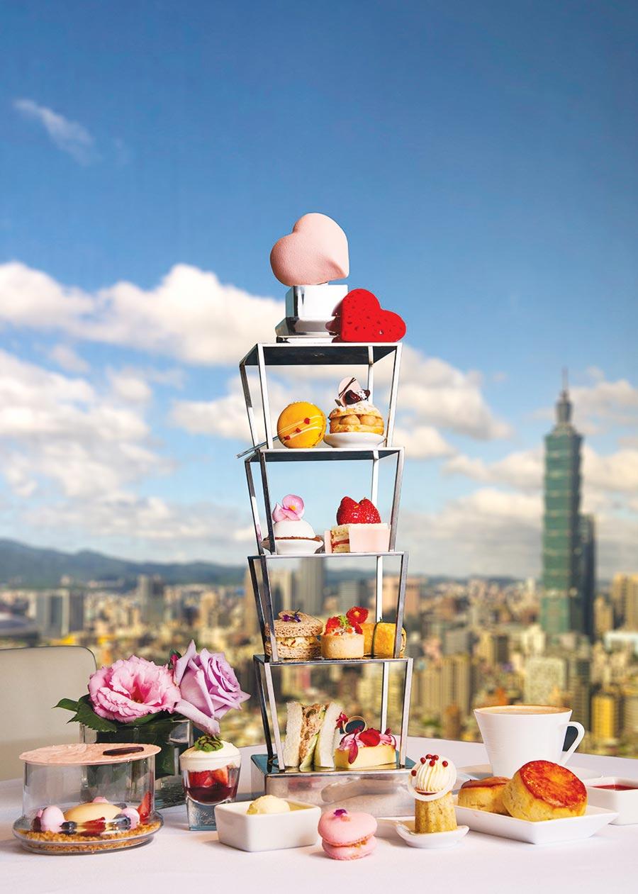 香格里拉台北遠東飯店除館內各餐廳推出情人餐,〈馬可波羅酒廊〉亦設計推出「甜心101」情人下午茶搶市,每位1,080元+10%。圖/台北遠東國際大飯店