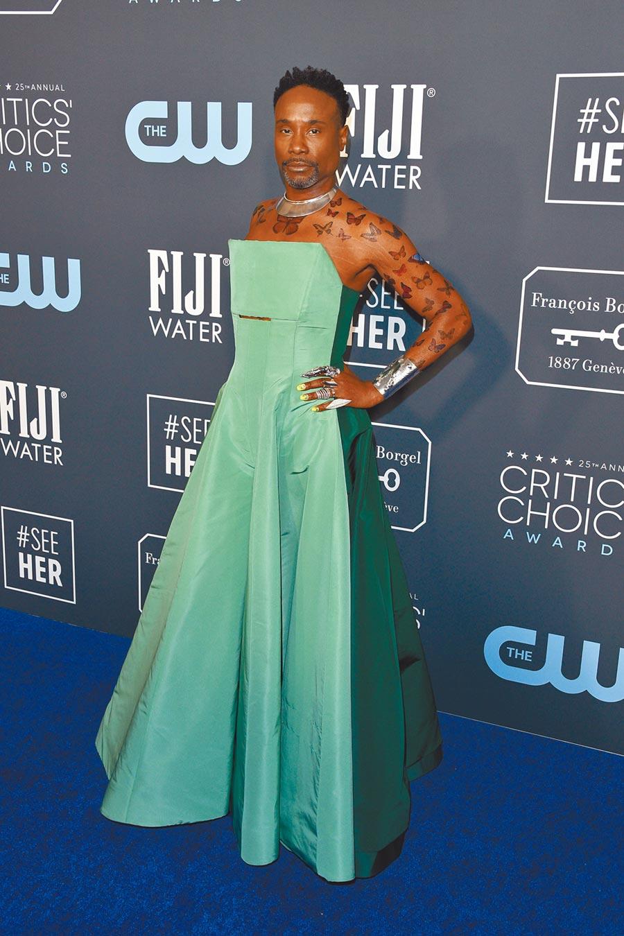 比利波特在廣播影評人協會獎,以露肩禮服展現凶猛野性美。(CFP)