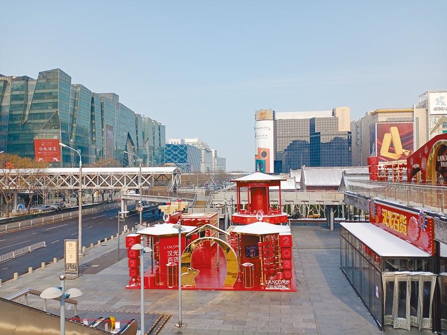 百貨公司林立的北京西單,如今冷冷清清。(記者陳君碩攝)