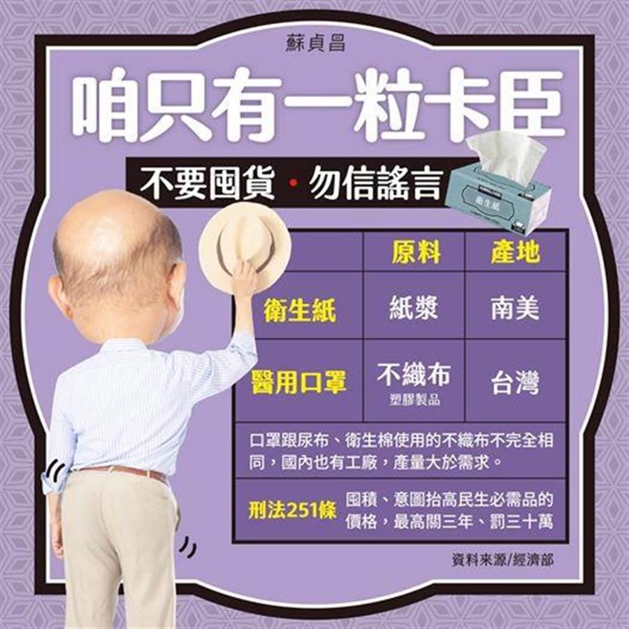 別囤衛生紙 蘇貞昌「搖屁股」解說:咱只有一粒卡臣