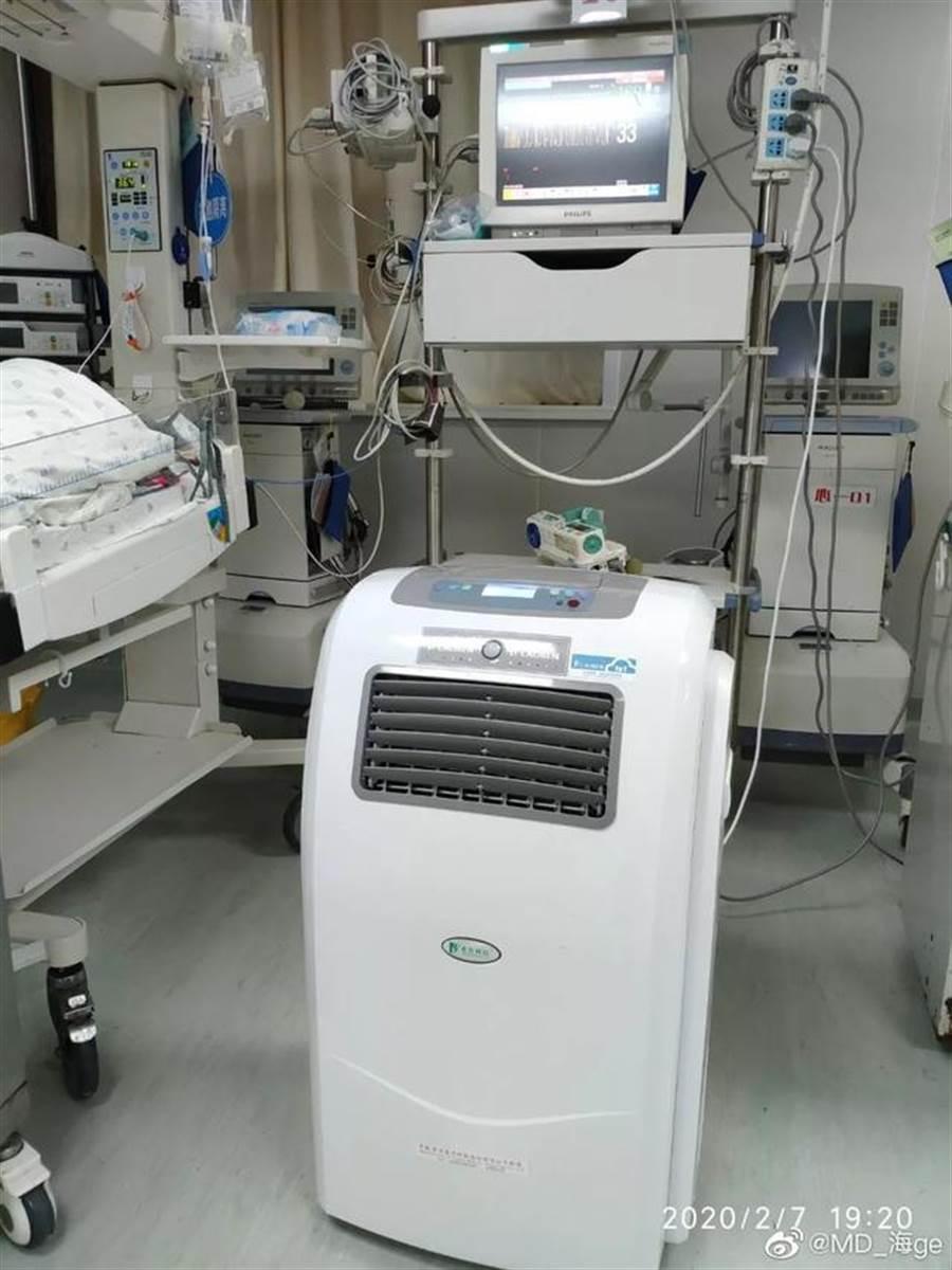 武漢醫生表示胡歌捐了一百多台醫療用空氣殺菌機來給前線醫護人員。(圖/翻攝自微博)