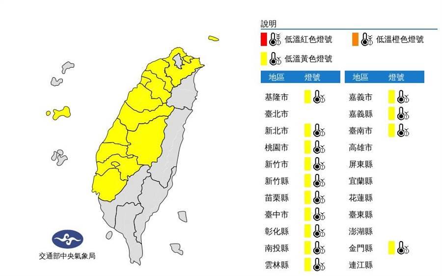 低溫特報!全台14縣市有下探10度的可能。(圖/氣象局)