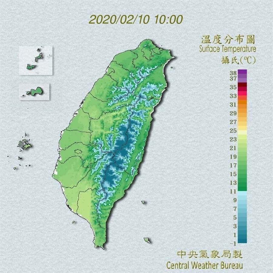 今日白天起至11日冷空氣逐日減弱;天氣晴朗穩定、白天氣溫逐日回升。(翻攝自中央氣象局/林良齊台北傳真)